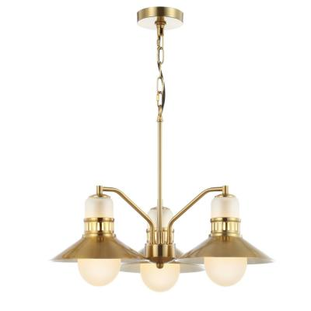 Colin 3-Light 22 in. Adjustable Iron/Glass Retro Hurricane LED Chandelier, Brass Gold