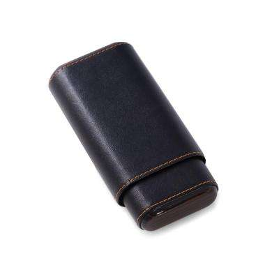 5.75 in. D x 1.25 in. H x 3 in. W Cedar Cigar Case in Black
