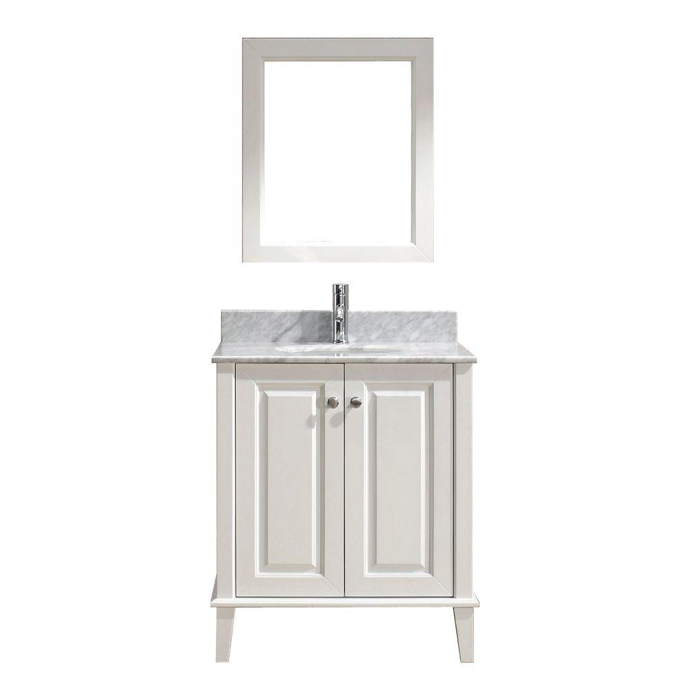 Studio Bathe Lily 30 in. Vanity in White with Marble Vanity Top in White and Mirror