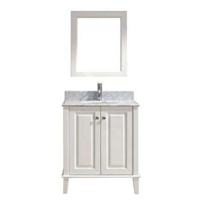 Lily 30 in. Vanity in White with Marble Vanity Top in White and Mirror