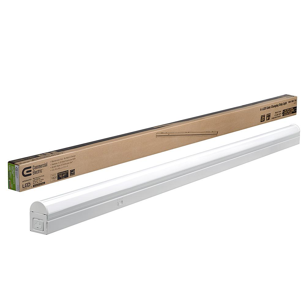 COMMERCIALELECTRIC Commercial Electric 4 ft. 32-Watt Equivalent Integrated LED White Strip Light Linkable Plug-in/Direct Wire 1800 Lumens Multi Color Changing