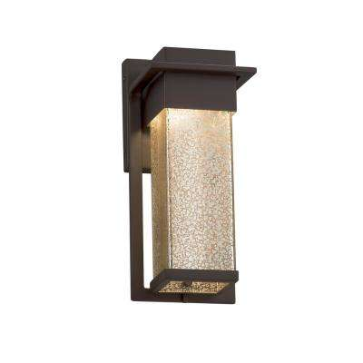 Fusion Pacific Small Dark Bronze Outdoor Integrated LED Wall Sconce with Mercury Glass Shade
