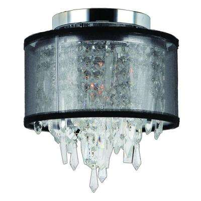 Tempest Collection 1-Light Chrome Crystal Ceiling Flushmount with Black Shade