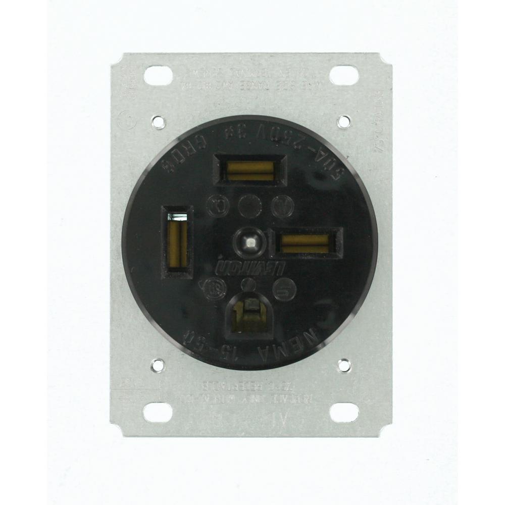 50 Amp 250-Volt Flush Mounting Grounding Outlet, Black