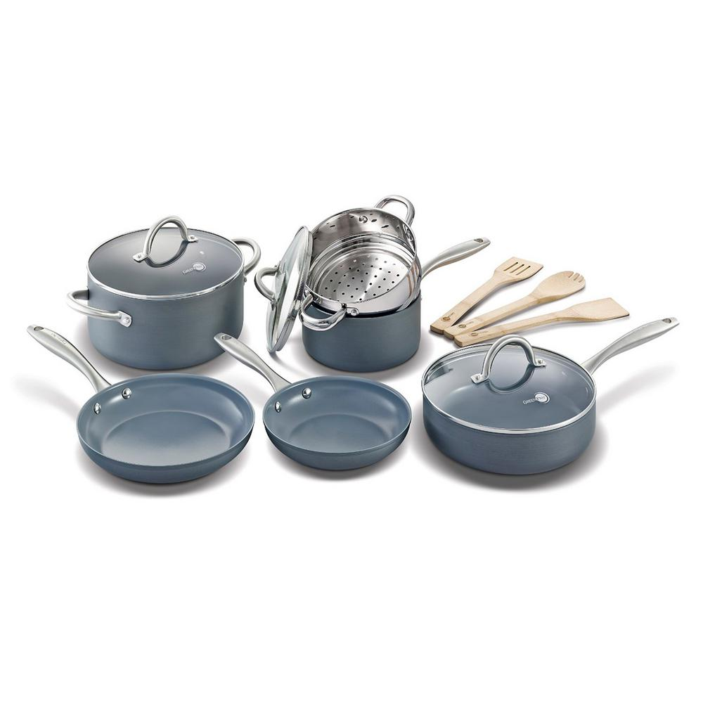 GreenPan Lima 12-Piece Ceramic Nonstick Cookware Set, Gra...