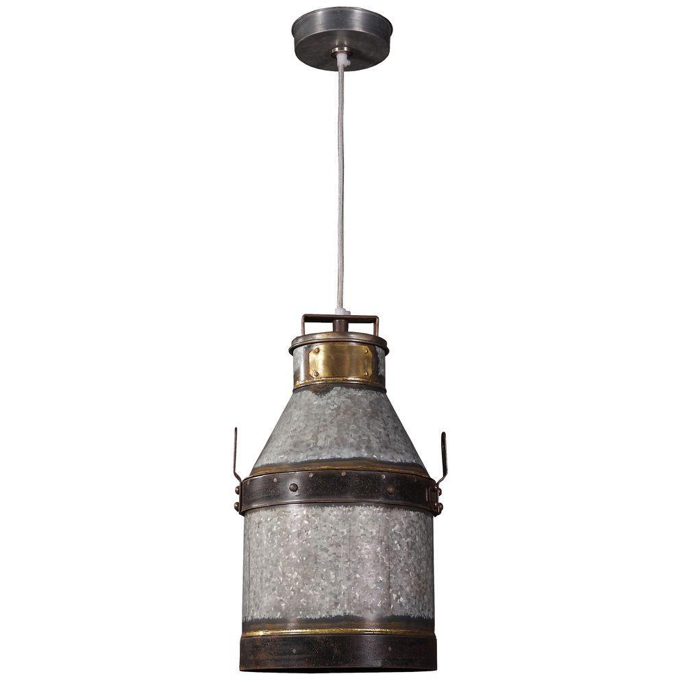Cudahy 1-Light Galvanized Iron Pendant with Bronze Accents
