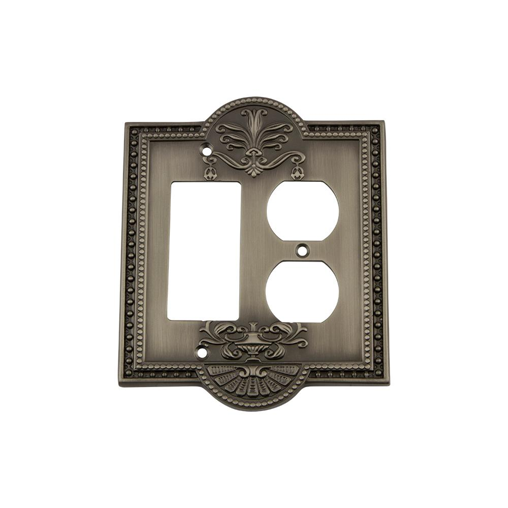 Meadows Switch Plate with Rocker and Outlet in Antique Pewter