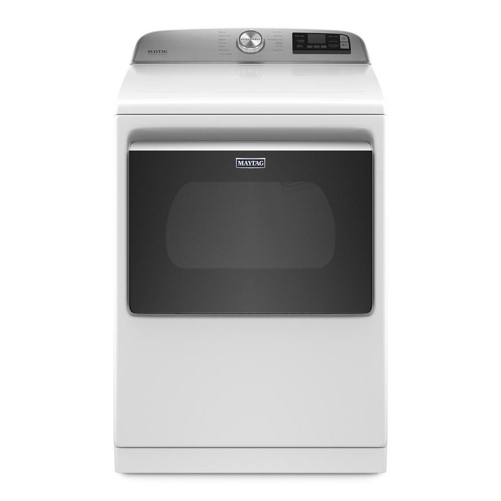 Maytag 7 4 Cu Ft 240 Volt Smart Capable White Electric Vented Dryer With Hamper Door And Steam Energy Star Med7230hw The Home Depot