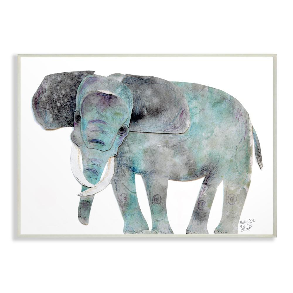 13 In X 19 In Watercolor Cutout Collage Elephant By Marley Ungaro Printed Wood Wall Art