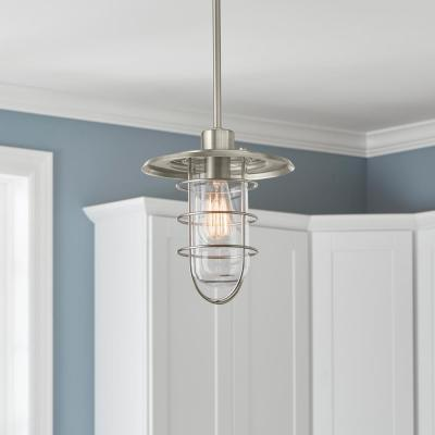 1-Light Brushed Nickel Fisherman Style Mini Pendant
