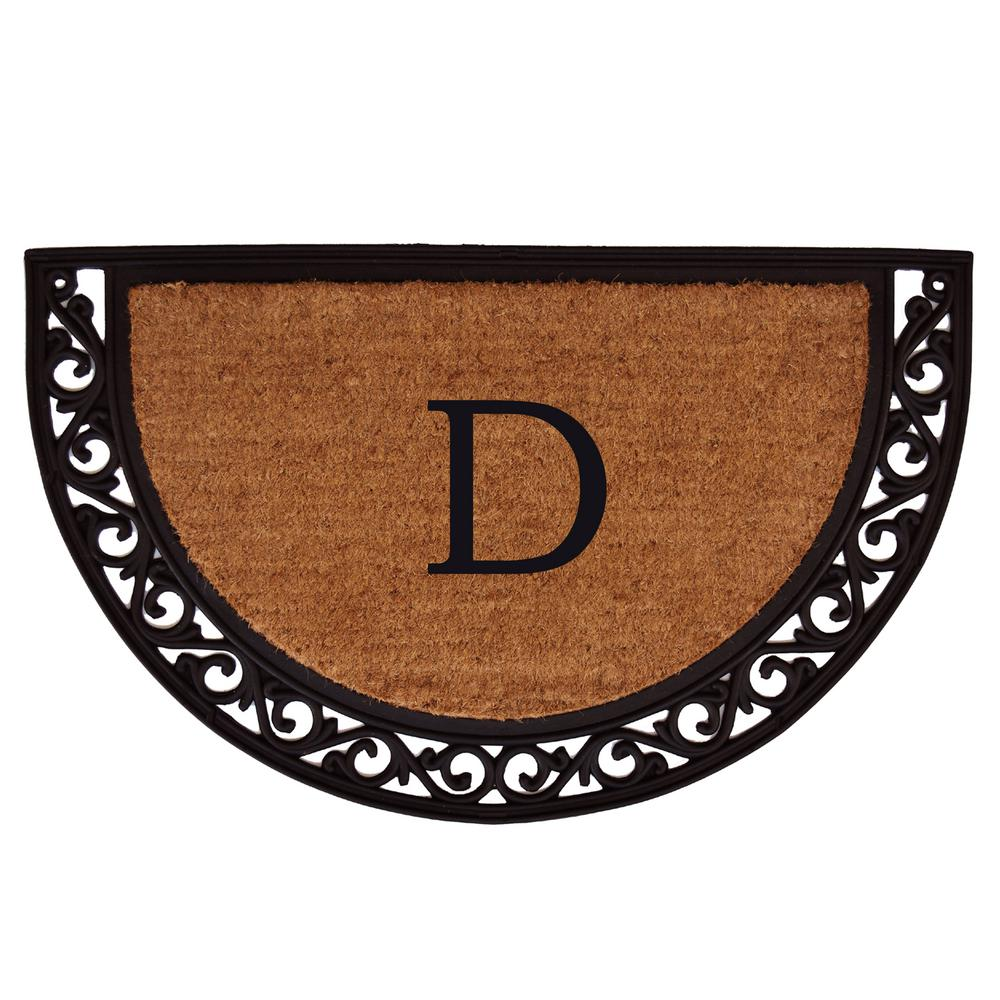 Ornate Scroll 18 in. x 30 in. Monogram D Door Mat