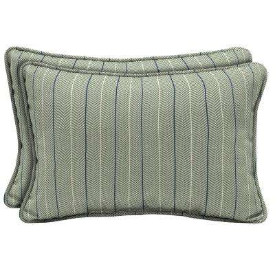 CushionGuard Surplus Elle Stripe Lumbar Outdoor Throw Pillow (2-Pack)