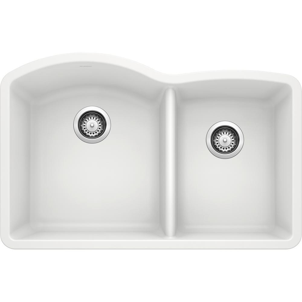 DIAMOND Undermount Granite Composite 32 in. 60/40 Double Bowl Kitchen Sink in White