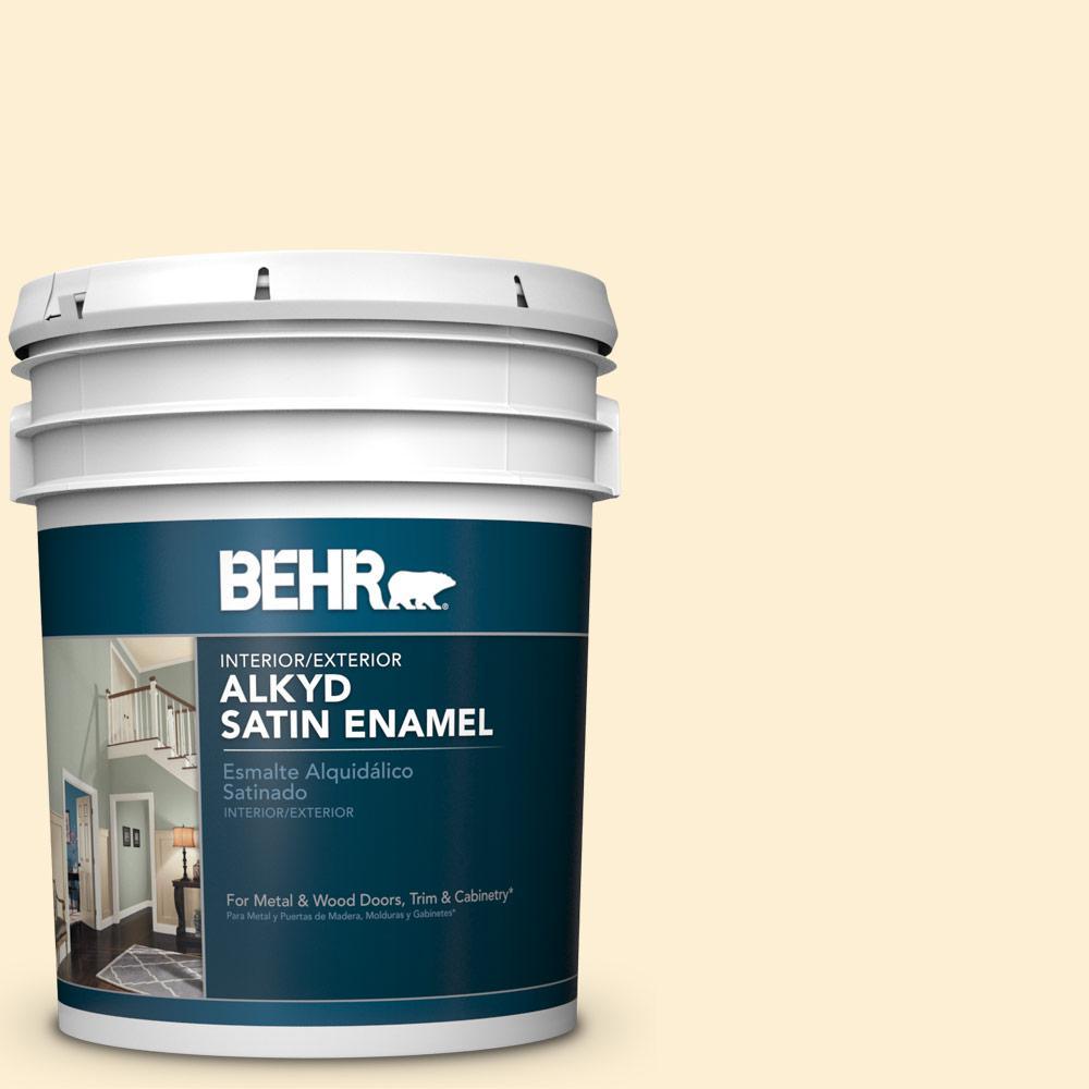 5 gal. #YL-W03 Honied White Satin Enamel Alkyd Interior/Exterior Paint