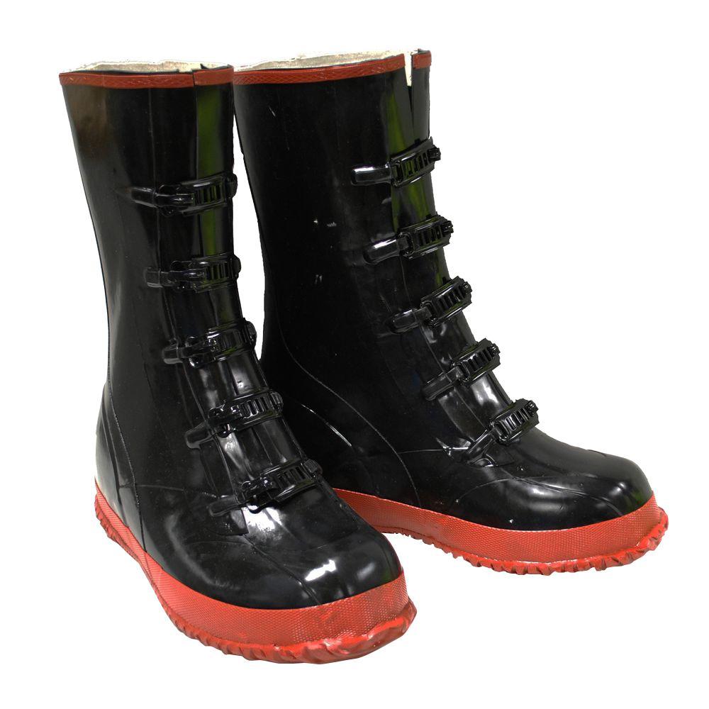 Black PVC 5 Buckle Boot Size 16