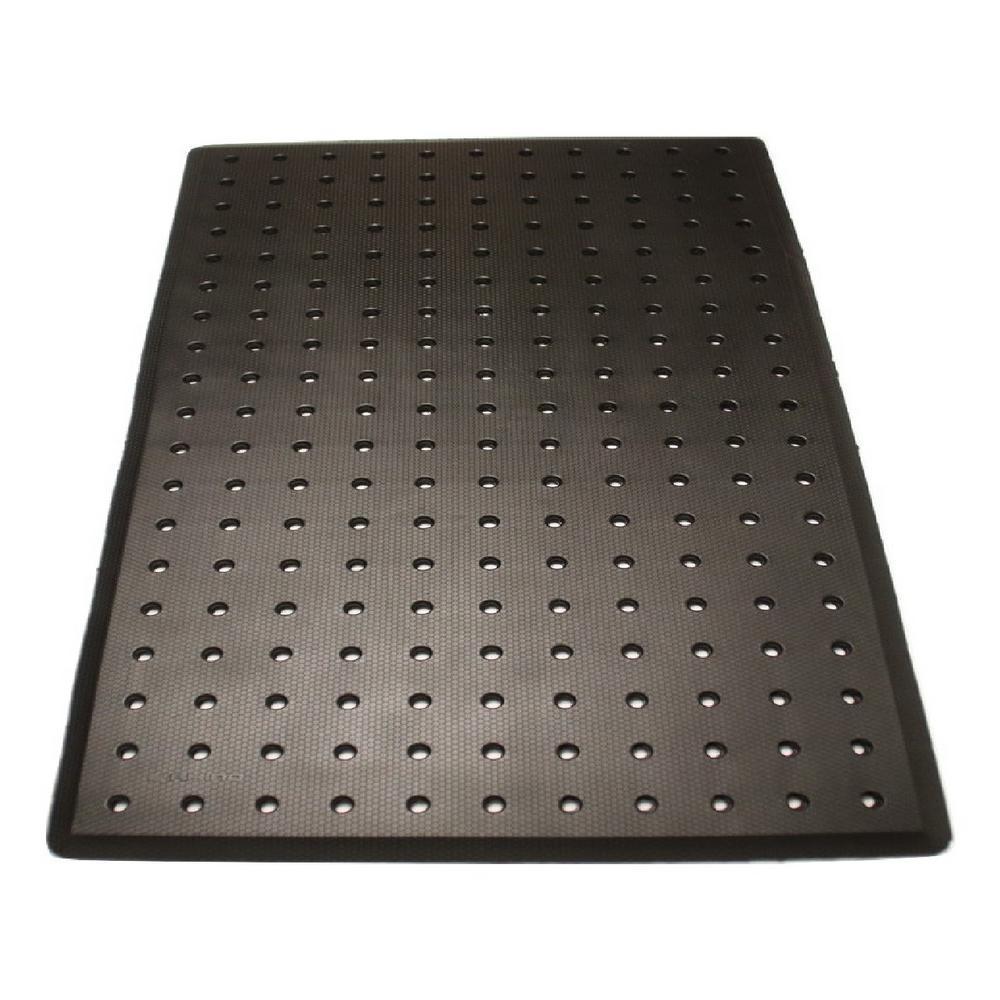 Sudden Comfort Charcoal 3 ft. x 5 ft. x 3/4 in. Drain-Thru Anti-Fatigue Polyurethane Kitchen Mat