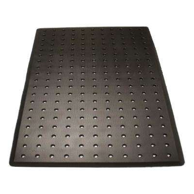 Sudden Comfort Charcoal 3 ft. x 5 ft. x 3/4 in. Drain-Thru Anti-Fatigue Polyurethane Kitchen Mat