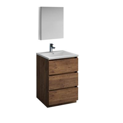 Lazzaro 24 in. Modern Bathroom Vanity in Rosewood with Vanity Top in White with White Basin and Medicine Cabinet