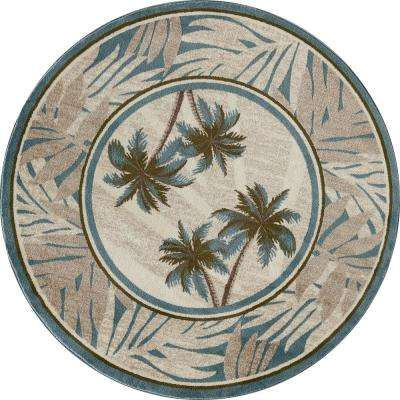 Palm Coast Frond Blue 5 ft. x 5 ft. Round Area Rug