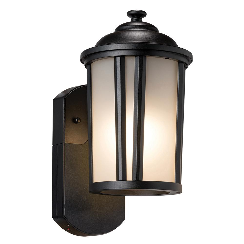 Maximus Traditional Smart Security Companion Textured Black Metal And Gl Outdoor Wall Lantern Sconce