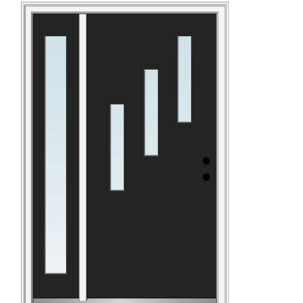 Mmi Door 53 In X 81 75 In Davina Clear Low E Glass Left Hand 3 Lite Modern Painted Steel Prehung Front Door With Sidelite Z0352169l The Home Depot