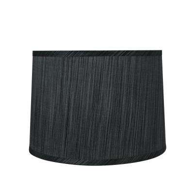 12 in. x 8.5 in. Grey and Black and Striped Pattern Hardback Empire Lamp Shade