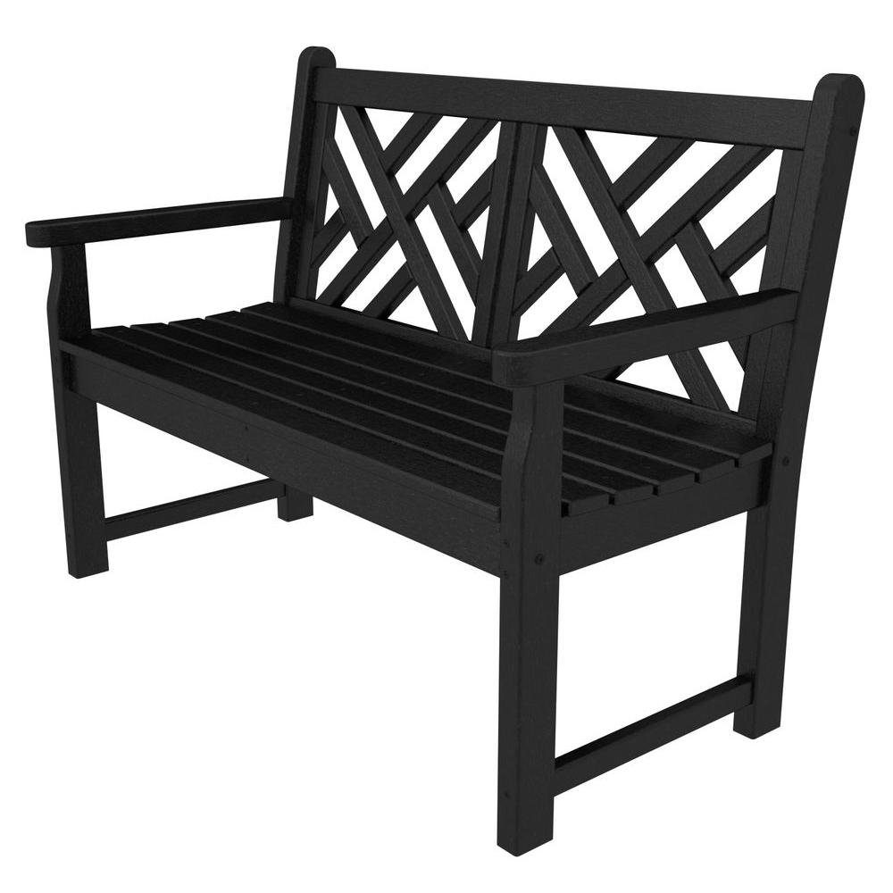 Peachy Polywood Chippendale 48 In Black Patio Bench Inzonedesignstudio Interior Chair Design Inzonedesignstudiocom
