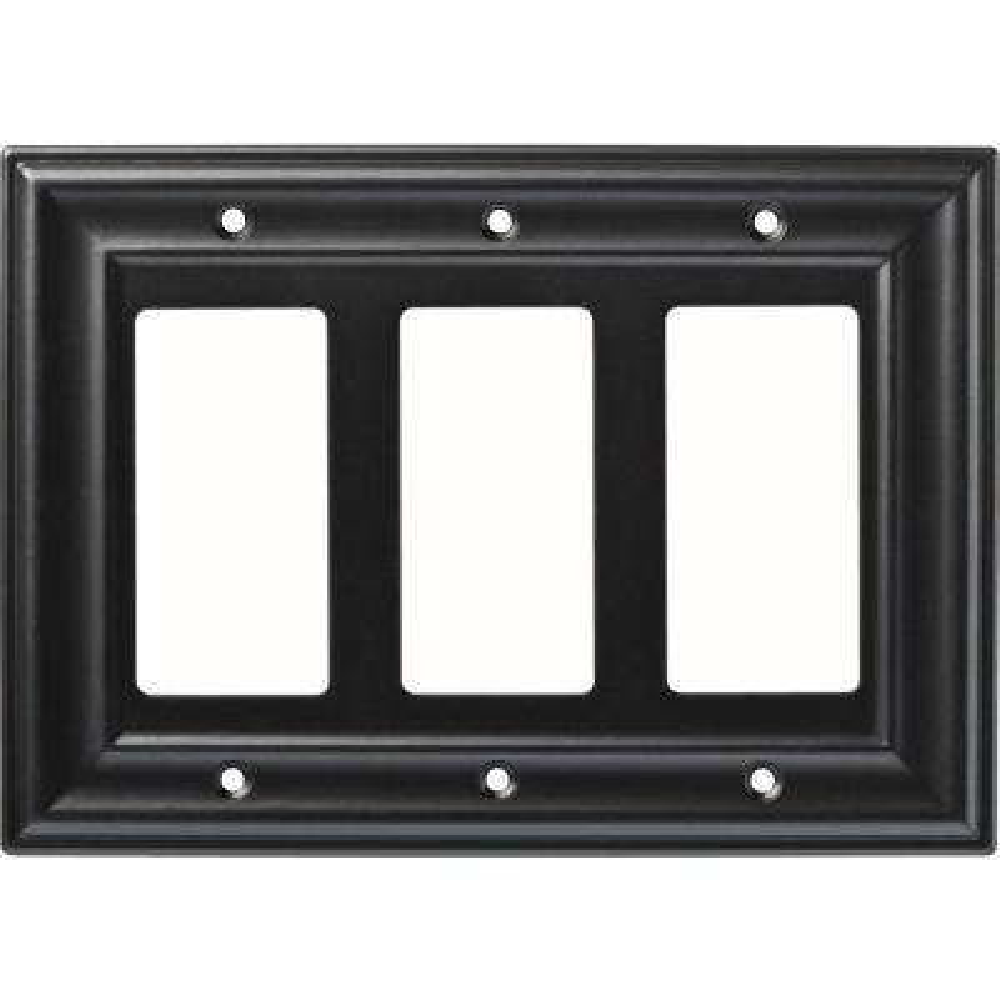 3-Gang Furrowed Triple Decorator Wall Plate, Soft Iron