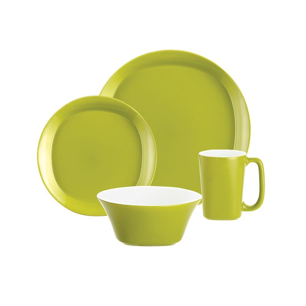 Rachael Ray Round and Square 16-Piece Dinnerware Set in Green Apple