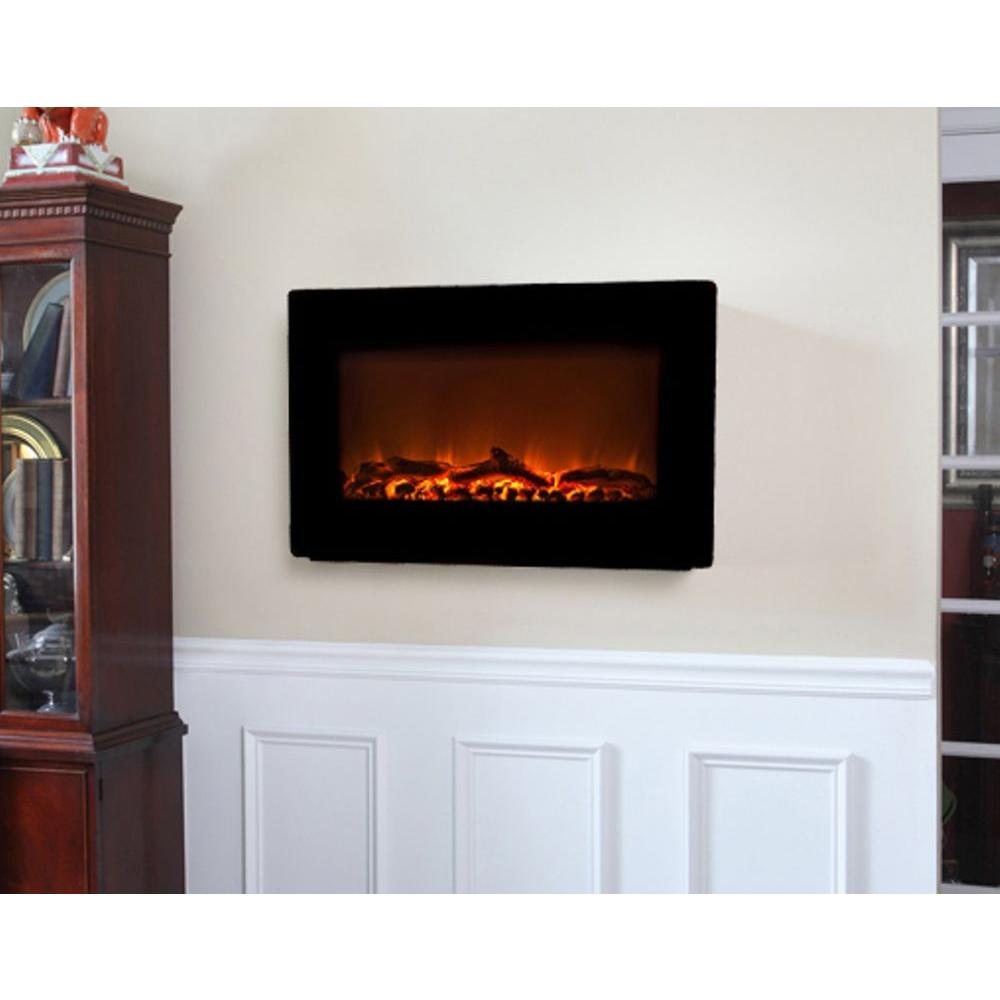 Electric Fireplace Heaters Home Depot: Fire Sense 30 In. Wall-Mount Electric Fireplace In Black