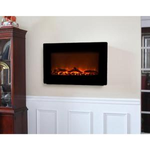 Fire Sense 30 in Wall Mount Electric Fireplace in Black