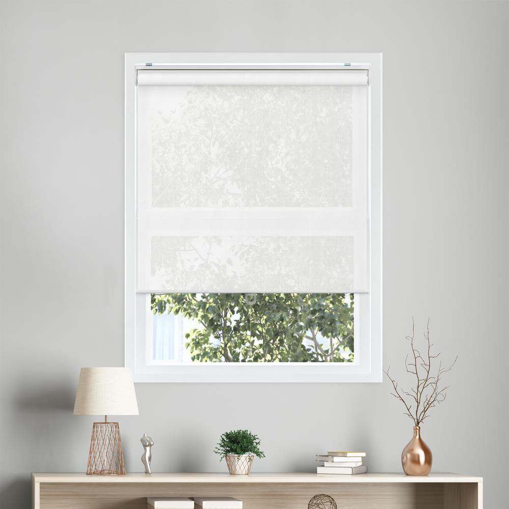 white window shades vinyl snapnglide viewitful white cordless polyester roller shades 27 the home depot