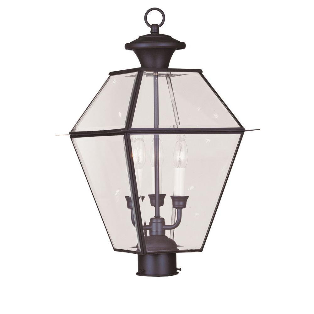 Westover 3 Light Bronze Outdoor Post Top Lantern