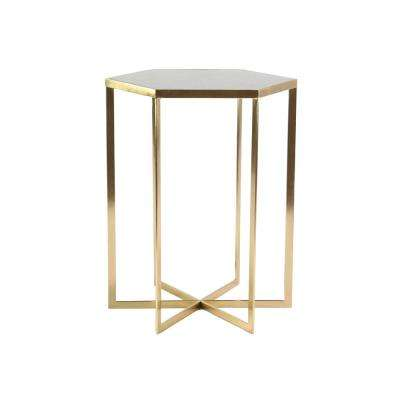 White Hexagonal Accent Table with Gold Rim