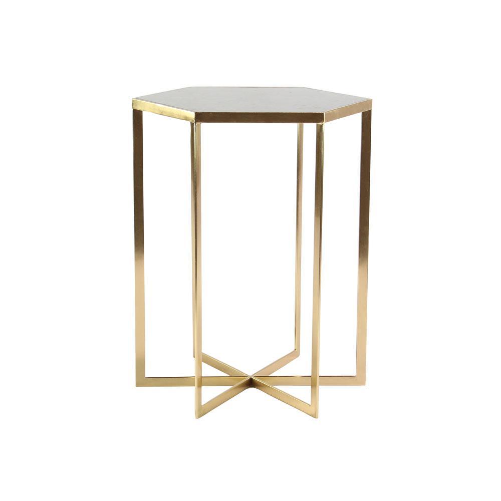 Litton Lane White Hexagonal Accent Table With Gold Rim 45844 The