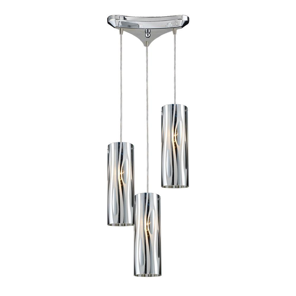 Titan Lighting Chromia 3-Light Polished Chrome Ceiling Pendant