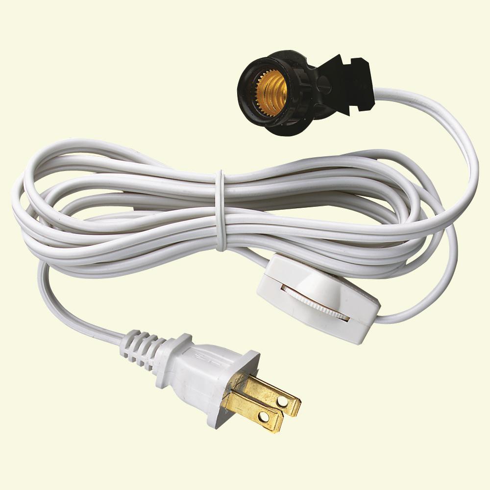 6 ft. White Candelabra Base Socket and Cord Switch Set