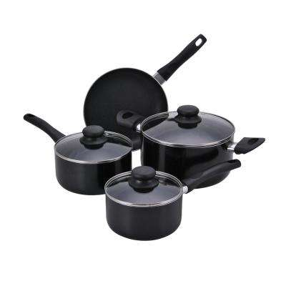 7-Piece Black Cookware Set with Lids