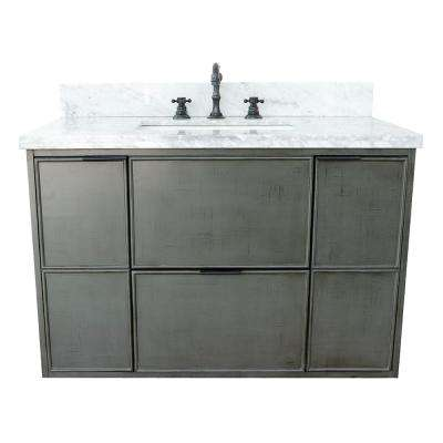 Scandi II 37 in. W x 22 in. D Wall Mount Bath Vanity in Gray with Marble Vanity Top in White with White Rectangle Basin