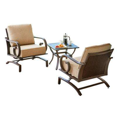 Milano 3-Piece Metal Chat Outdoor Bistro Set with Tan Cushions