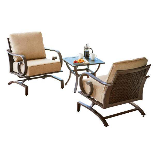 Milano 3-Piece Aluminum Chat Outdoor Patio Set with Tan Cushions