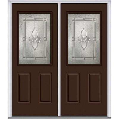 64 in. x 80 in. Master Nouveau Right-Hand Inswing 1/2-Lite Decorative Glass 2-Panel Painted Steel Prehung Front Door