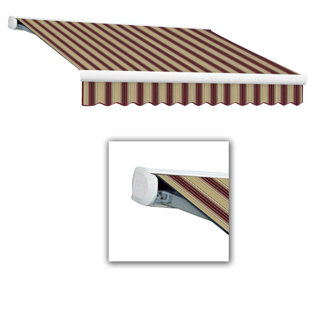 AWNTECH 14 ft. Key West Full-Cassette Left Motor Retractable Awning with Remote (120 in. Projection) in Burgundy/Tan Multi