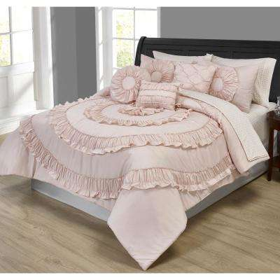 Jennifer Ruffled Pink 10-Piece Comforter Set