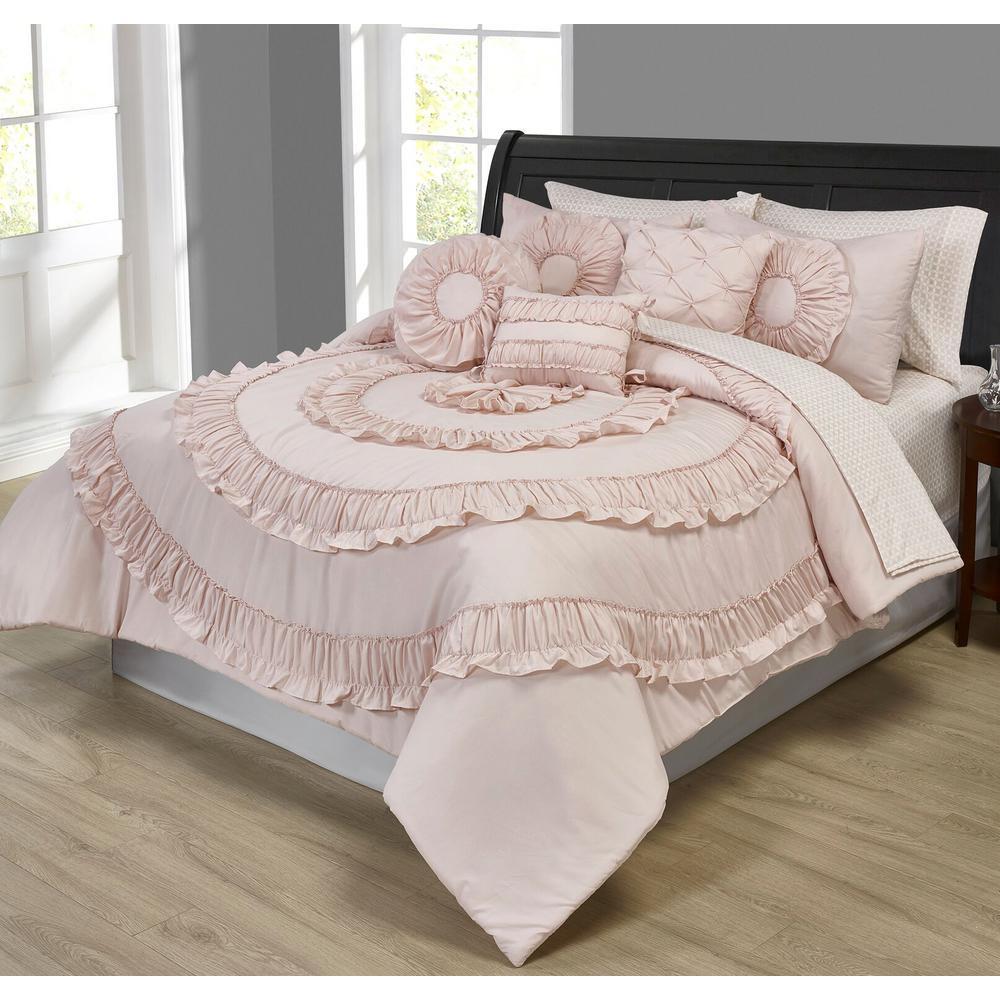 MHF Home Jennifer Ruffled Pink 10-Piece Comforter Set