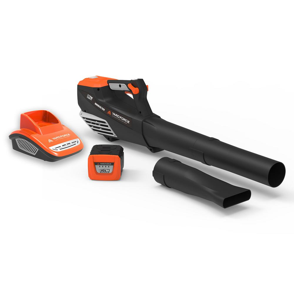 YARD FORCE 140 MPH 600 CFM 60-Volt Cordless Lithium-ion Blower w/ Battery and Fast Charger Included
