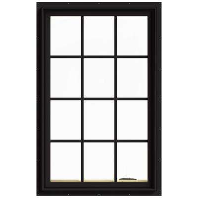30 in. x 48 in. W-2500 Series Black Painted Clad Wood Right-Handed Casement Window with Colonial Grids/Grilles