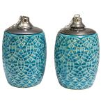 6 in. Aqua Rivage Ceramic Tabletop Torch (Set of 2)