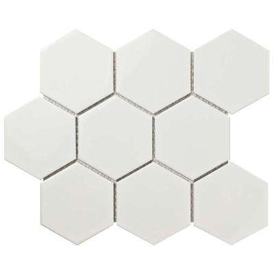 Metro Super Hex Glossy White 10-7/8 in. x 11-3/8 in. x 6 mm Porcelain Mosaic Tile (8.78 sq. ft. / case)