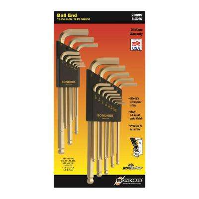 Standard and Metric GoldGuard Ball End L-Wrench Sets (22-Piece)